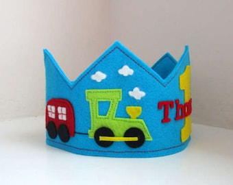 Train Crown, Birthday Crown, Wool Felt Crown, Boy Crown, First Birthday, Personalized, Photo Prop, Smash Cake