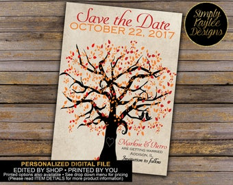 Two love birds sitting in a tree - Fall Tree Save The Date Cards
