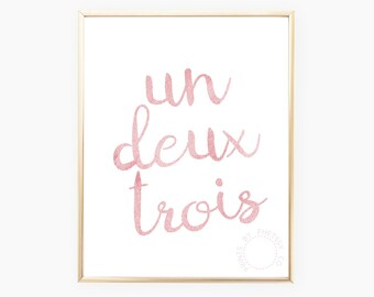 Un Deux Trois, French Wall Art, French Print, Vanity Wall Art, Pink Watercolor Art, Printable Art, Instant Download