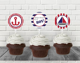 Red and Navy Nautical Baby Shower Cupcake Topper - Printable PDF - Instant Download - Immediate Download