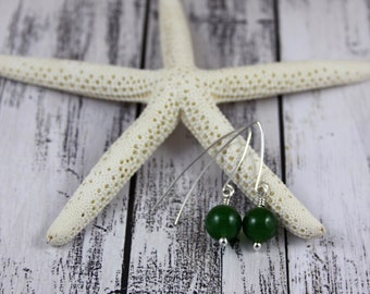 Green Jade and Sterling Silver Dangle Earrings