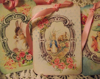 Easter  Gift Tags  Shabby Chic Tags Tied  With Satin Ribbon