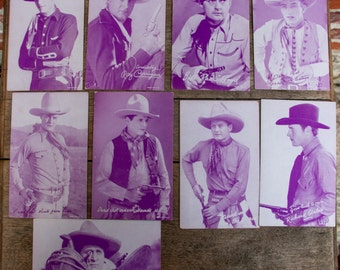 Lot of 9 Cowboy Penny Arcade Cards Vintage Rose Tinted