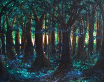 Firefly Rendezvous print, image of original artwork, enchanted forest, magical