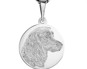 925 silver round pendant with your photo in 3d laser flat embossed engraving.