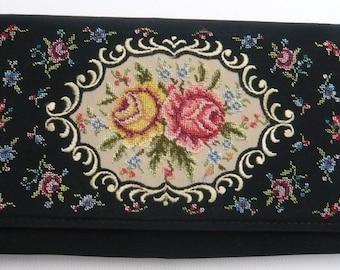 Vintage Black Taffeta Petit Point Clutch