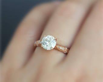New!!1.0ct Charles & Colvard Round Brilliant Moissanite Ring Solid 14K Rose Gold Ring Moissanite Wedding Ring Moissanite Engagement Ring