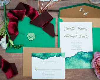 CUSTOM ORDER Modern Copper & Green Water Color Wedding Invitation — Includes Envelope Liner, RSVP and Address Printing