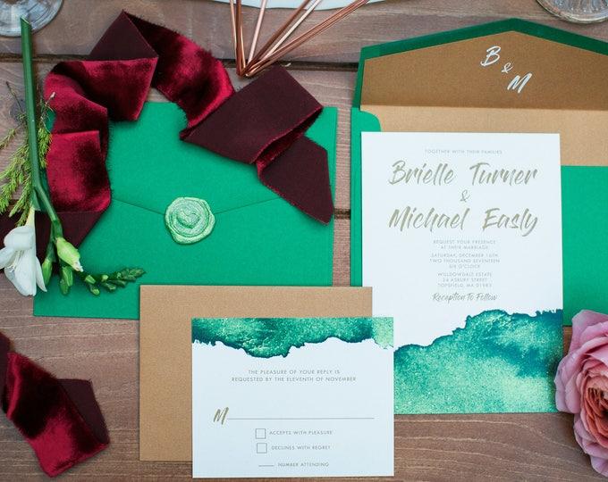 CUSTOM ORDER Modern Copper & Green Water Color Wedding Invitation — Includes Envelope Liner, RSVP and Address Printing