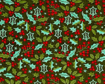 Moda - Berry Merry - Christmas Holly - Black - Fabric by the Yard 30472-18