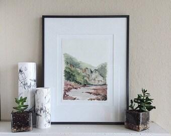 """Watercolor Landscape Print - 11"""" x 14"""""""