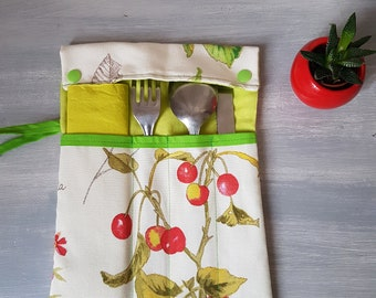 Case pocket for cutlery and napkin, cherries, very practical, closed with a bow, free shipping