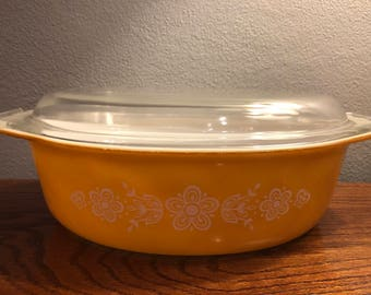 Vintage Pyrex 045 Casserole Dish With Lid - Butterfly Gold