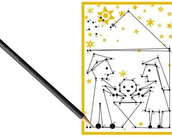 5x dot to dot postcard nativity scene