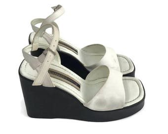White Platform Wedge Ankle Strap Sandals 7.5