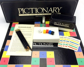 First Edition Pictionary Board Game Of Quick Draw Vintage Original 1985 Classic