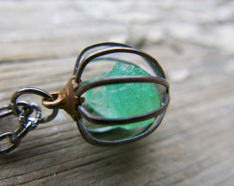 Raw Emerald Spring Crystal Green Necklace Gemini Sign Gift Jewelry Raw Birthstone May Gemstone Wife Push Present Gift Cage Pendant