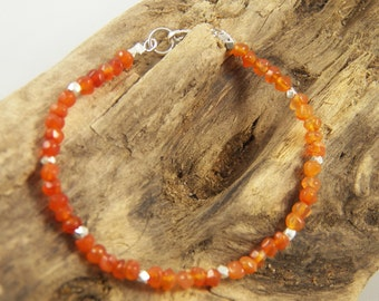 Simple Chic Faceted Carnelian and Hill Tribe Silver Beaded Bracelet - All Sterling Silver