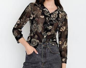 VINTAGE Black Floral See Through Long Sleeve Retro Shirt Blouse