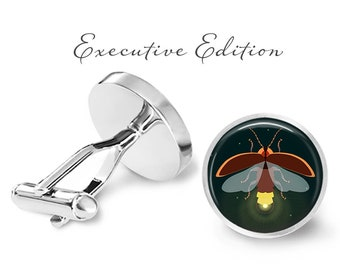 Firefly Cufflinks - Fireflies Cuff Links - Insect Cufflink - Bug Cuff Link (Pair) Lifetime Guarantee (S1360)