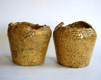 Vintage Pottery Planters, Hand Crafted, Mustard