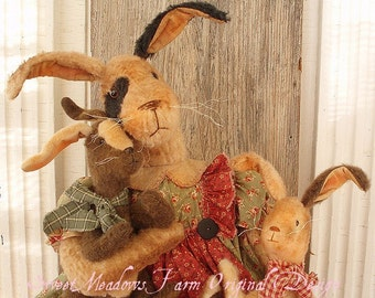 Primitive E-PATTERN BIG Bunny Doll with Little Bunny dolls PDF