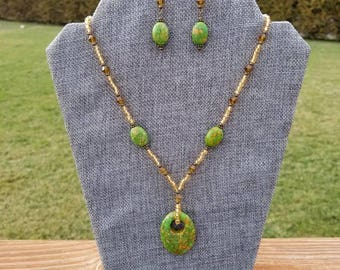 Dyed Green Mosaic Turquoise Necklace and Earrings Jewelry Set