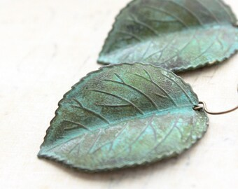 Verdigris Leaf Earrings Rustic Patina Earrings Nature Inspired Woodland Jewellery Green Leaf Dangle Gift for Women Surgical Steel Ear wire