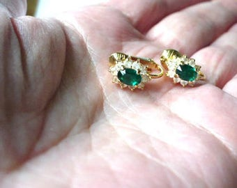 Emerald and CZ Clip On Earrings, Green Emerald, Clip On Earrings, Women's ClipOn Earrings Emerald