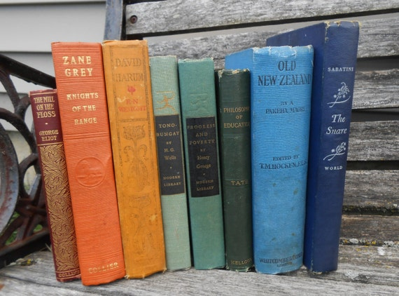 Vintage Instant Library RAINBOW Collection.  Vintage Home Decor.  ROYGBIV. Cabin, House. Book Collection.