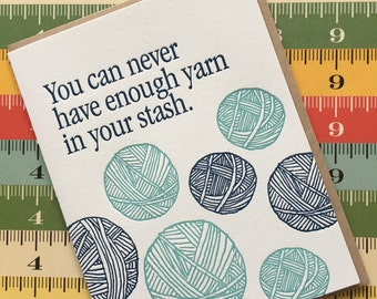 Letterpress Card - lots of yarn