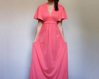 Boho Dress 70s Maxi Flutter Sleeve Long Dress 1970s Vintage Empire Waist Electric Bohemian Maxi - Extra Small to Small XS S