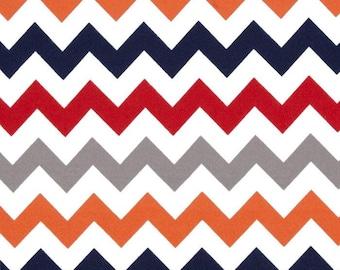 "Boy chevron fabric SALE Riley Blake designs  24"" cut orange red gray red"