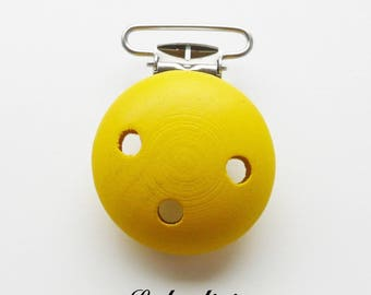 Clip / wooden pacifier Clip, from 25 mm: yellow