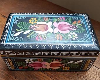 Mexican Folk Art Painted Trinket Box, Tole Painted Trinket Box