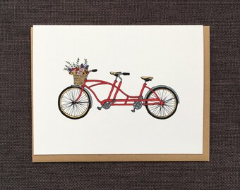 Bicycle For Two / Notecard / Blank Inside / FREE SHIPPING