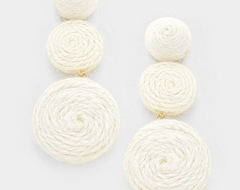Ivory Thread Dome Double Thread Disc Link Earrings