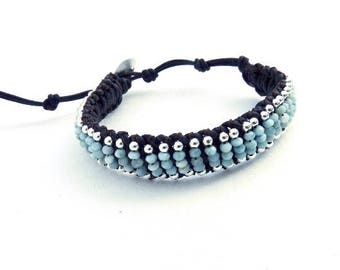 Adjustable handwoven larimar and sterling silver brown leather macrame bracelet