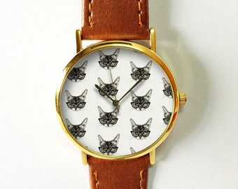 Hipster Cat Watch  , Vintage Style Leather Watch, Women Watches, Unisex Watch, Boyfriend Watch, Men's Watch, Gray Purple