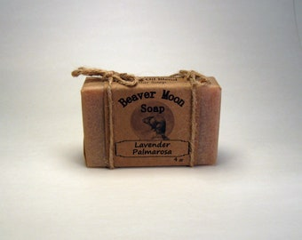 Natural Handmade Soap Lavender Palmarosa bath soap 4 oz bar