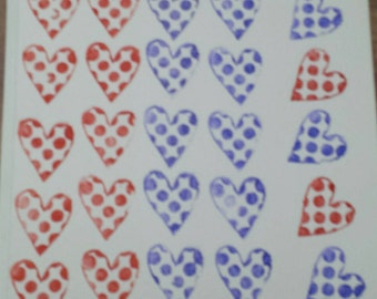 hand stamped card, heart card, valentines card, red heart card, blue heart card, polka dot heart card, mothersday day, greeting card,