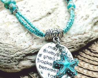 May you always have a shell in your pocket and sand between your toes, Turquoise Necklace, Malachite Beads, Starfish, Beach necklace