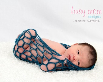 Crochet PDF Pattern - Lacy Baby Pod - Newborn Photography Prop - aka Bowl, Nest, Pod, Wrap, Cocoon- SELL what you make
