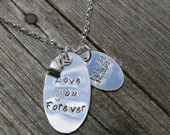 LIMITED TIME SALE Love You Forever...Custom Sterling Mothers Necklace (1 tag)