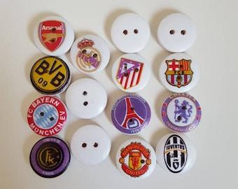 Set of 10 football team wooden buttons