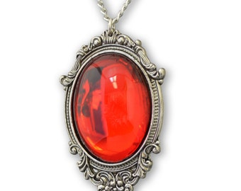 Blood Red Cabochon in Pewter Frame Pendant Necklace Vampire Jewelry  NK-620R