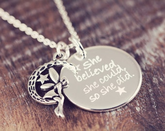 She Believed She Could So She Did Necklace Pendant, Empowering Personalized Graduation Gift for Her Custom Jewelry, Sterling Silver N018