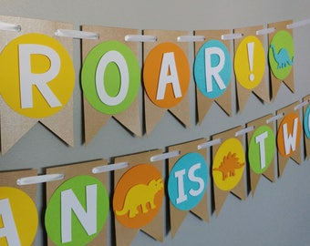 "ROAR Banner, Dinosaur Banner, Dinosaur Party decoration,""NAME"" is ""AGE"",Dinosaur Birthday, Cute Dinosaur, Roar I am Two, Dinosaur themed"