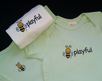 Gender Neutral Baby - Organic Short Sleeve Bodysuit - Lightweight Ribbed Cotton - Screen Printed BEE PLAYFUL - Unisex Bodysuit - 12-18 M