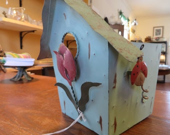 Metal Planter Birdhouse Hand Painted